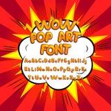 Wow pop art comic font vector illustration Stock Images