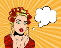 Wow pop art face. Woman in shocked emotion holds hands near her face, pop art style Royalty Free Stock Photos