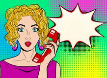 Wow pop art female face. Sexy surprised blond young woman with o. Pen mouth holding red old phone handset and empty speech bubble. Vector bright background in Royalty Free Stock Photos