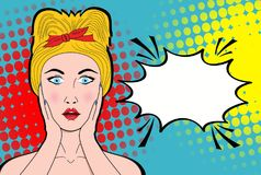 Wow pop art female face. Sexy surprised young woman with open mo. Uth and blond hair and empty speech bubble. Vector bright background in pop art retro comic Royalty Free Stock Photos