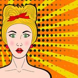 Wow pop art female face. Sexy surprised young woman with open mo. Uth and blond hair. Vector bright background in pop art retro comic style Stock Photography