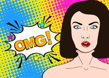 Wow pop art female face. Sexy surprised young woman with open mo. Uth and dark hair and OMG! speech bubble. Vector bright background in pop art retro comic style Royalty Free Stock Photography