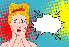 Wow pop art female face. Sexy surprised young woman with open mo. Uth and blond hair and empty speech bubble. Vector bright background in pop art retro comic Stock Photo