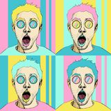 Wow pop art male face seamless pattern. surprised man with open mouth. Colorful vector background in pop art retro comic style stock illustration