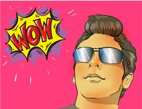 Wow pop art male face. Young sexy surprised man in glasses. Wow pop art male face. Young sexy surprised man in glasses with open mouth and Wow speech bubble Stock Image
