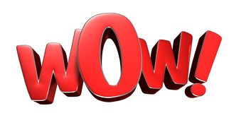 Wow Red 3D.With Clipping Path Royalty Free Stock Photos