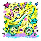 Wow rollers skates girls trendy shoes, high heel, sport slogan lettering. Color pencil, marker, ink, pen doodles sketch style royalty free illustration
