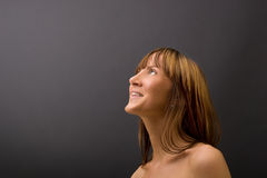 WOW! That's great!. Happy female gets good news Royalty Free Stock Photography