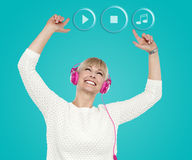 Wow! it's my favorite album !. Woman enjoying music with hands raised royalty free illustration