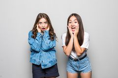 Wow. It`s unbelievable, you are liar. Portrait of two attractive charming happy beautiful wondered surprised girlfriends dressed stock image