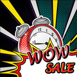 Wow sale pop art explosion over dotted background Stock Images
