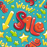 Wow! Sale. Seamless vector pattern. Stock Photos