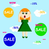 Wow sale signs with a girl in a flat style, vector illustration. Vector girl in flat style flying in the sky with bubbles of sale and persent reduce Royalty Free Stock Photos
