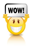 Wow sign. Smiley face with wow sign Royalty Free Stock Photos