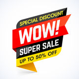 WOW! Super Sale. Special discount banner Stock Images