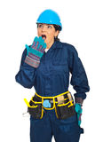 Wow!Surprised constructor worker woman Stock Photography