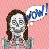 WOW! Surprised female skeleton.Bubble speech element.Brown hair. Royalty Free Stock Photo