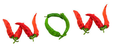 WOW text composed of chili peppers Royalty Free Stock Images