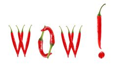 WOW text composed of chili peppers. Isolated on white background Stock Images