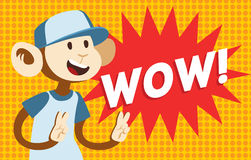 Wow text monkey classic pop art design vector Royalty Free Stock Photography