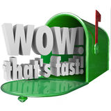 Wow Thats Fast Words Mailbox Speedy Delivery Service Stock Photos