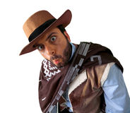 WOW Western. WOW gunman in the old wild west Royalty Free Stock Photography