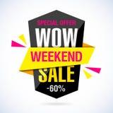 Wow-Wochenenden-Verkaufsfahne Stockbild