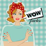 Wow woman and speech bubble. Woman smiling and speech bubble with text wow factor. Vector pop Art Stock Photo