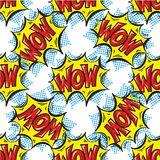 WOW word Multicolored comics speech bubbles seamless pattern Stock Photos