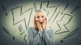 Wow. Portrait of beautiful girl holding her mouth opened, hands on cheeks. Shocked surprised young woman. Stunned human emotion and lightning sketches and stock photos
