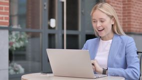 Wow, young businesswoman surprised by results stock video