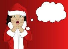 wow Zeer verrast meisje in Santa Claus-kostuum Kind Royalty-vrije Stock Foto