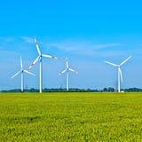 Wowers för vindenergi som står i fältet Arkivfoto