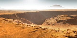 Wpływów kratery na Mars Zmierzch na Mars Marsjański krajobraz ilustracji