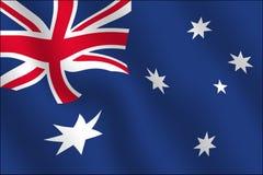 wpływ australijskiego flagi machał Zdjęcia Royalty Free