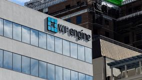 WP Engine Logo on the side of a building royalty free stock photos