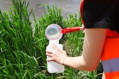 Wp8lywy próbki woda dla laborancki testowanie Pojęcie - analiza wodna czystość, środowisko, ekologia obrazy stock
