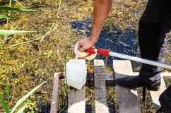 Wp8lywy próbki woda dla laborancki testowanie Pojęcie - analiza wodna czystość, środowisko, ekologia zdjęcie stock