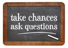 Wp8lywy szansy, pytają pytania obraz stock