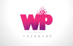 WP W.P.与桃红色紫色颜色和微粒小点Des的Letter Logo 免版税图库摄影