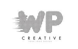WP W.P.与黑小点和足迹的Letter Logo 库存照片