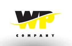 WP W.P. Black和黄色与Swoosh的信件商标 库存图片