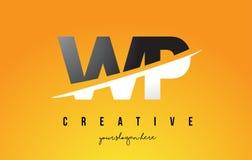 Wp W.P. Letter Modern Logo Design avec le fond jaune et le Swoo illustration stock