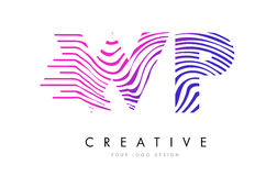 Wp W.P. Zebra Lines lettre Logo Design avec des couleurs magenta Photographie stock libre de droits
