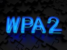 WPA2 (Access protégé par Wi-Fi) - version 2 de WPA Photographie stock