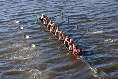 WPI races in the Head of Charles Regatta Women's Collegiate Eights Stock Photo