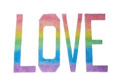 Wpisowa «miłość «robić barwioni ołówki na białym tle w kolorach flaga LGBT, zdjęcie stock