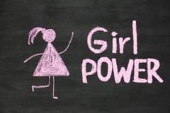 Wpisowa dziewczyny władza i kobieta rysunkowy symbol na chalkboard lub zdjęcie royalty free