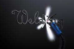 Wpisowa spawu tig spawu rękojeść na metalu talerzu Fotografia Stock