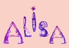 Wpisowi Alice śmieszni króliki na menchii royalty ilustracja